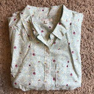 """Caslon"" Button-Down Floral and Polka Dot Shirt"